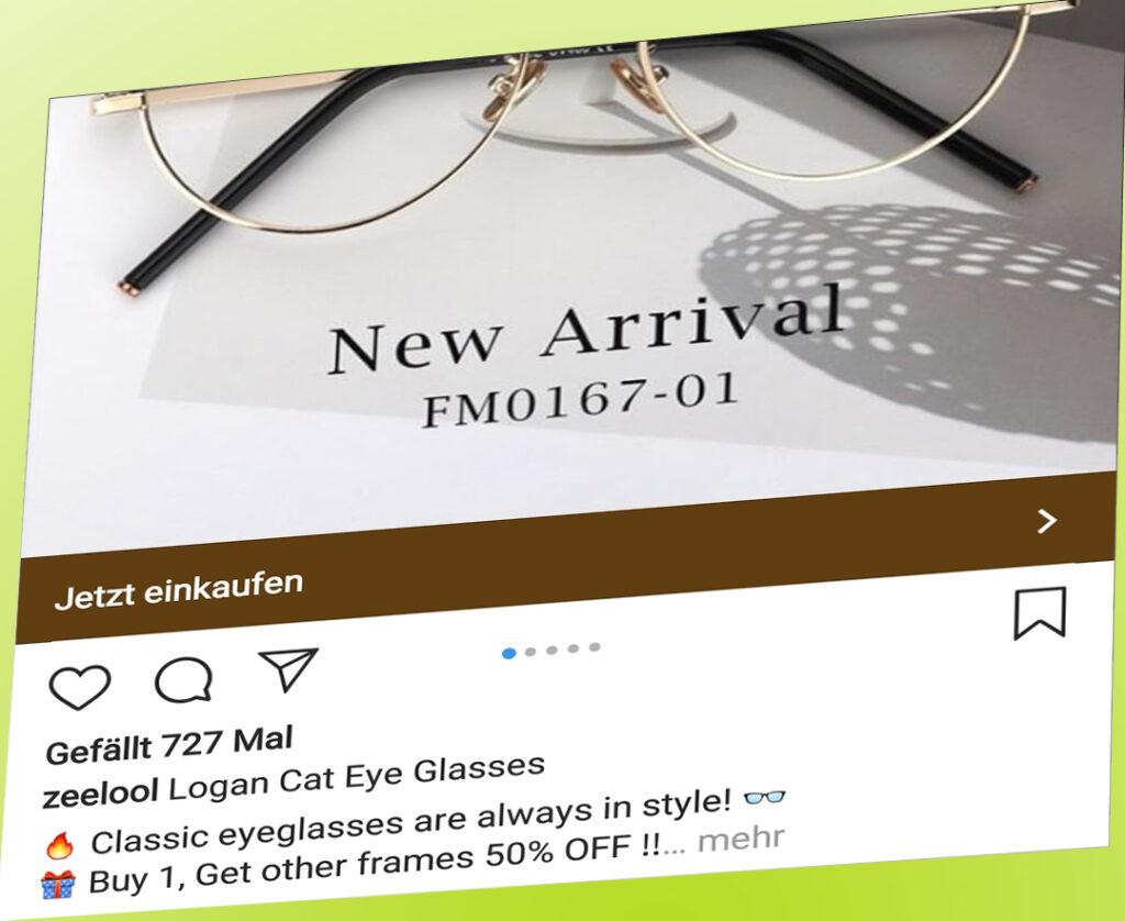 Eine Werbeanzeige für schicke Brillen.