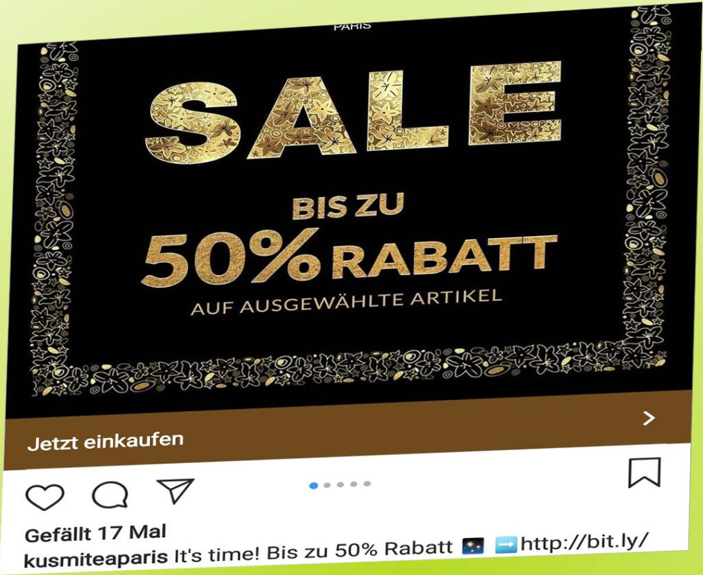 """Eine Werbung, auf der fett """"Sale bis zu 50% Rabatt!"""" steht."""